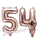 Zahlen-Luftballons aus Folie, Zahl 54 zum 54. Geburtstag und Jubiläum, Rosegold, 35 cm