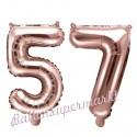 Zahlen-Luftballons aus Folie, Zahl 57 zum 57. Geburtstag und Jubiläum, Rosegold, 35 cm