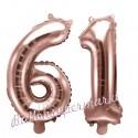 Zahlen-Luftballons aus Folie, Zahl 61 zum 61. Geburtstag und Jubiläum, Rosegold, 35 cm