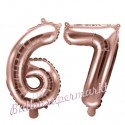 Zahlen-Luftballons aus Folie, Zahl 67 zum 67. Geburtstag und Jubiläum, Rosegold, 35 cm