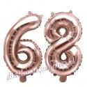 Zahlen-Luftballons aus Folie, Zahl 68 zum 68. Geburtstag und Jubiläum, Rosegold, 35 cm