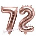 Zahlen-Luftballons aus Folie, Zahl 72 zum 72. Geburtstag und Jubiläum, Rosegold, 35 cm