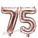 Zahlen-Luftballons aus Folie, Zahl 75 zum 75. Geburtstag und Jubiläum, Rosegold, 35 cm