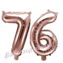 Zahlen-Luftballons aus Folie, Zahl 76 zum 76. Geburtstag und Jubiläum, Rosegold, 35 cm