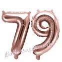 Zahlen-Luftballons aus Folie, Zahl 79 zum 79.Geburtstag und Jubiläum, Rosegold, 35 cm