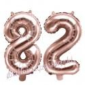 Zahlen-Luftballons aus Folie, Zahl 82 zum 82.Geburtstag und Jubiläum, Rosegold, 35 cm