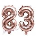 Zahlen-Luftballons aus Folie, Zahl 83 zum 83.Geburtstag und Jubiläum, Rosegold, 35 cm