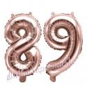 Zahlen-Luftballons aus Folie, Zahl 89 zum 89.Geburtstag und Jubiläum, Rosegold, 35 cm