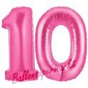 Luftballons aus Folie Zahl 10, Pink, 100 cm mit Helium zum 10. Geburtstag
