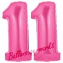 Luftballons aus Folie Zahl 11, Pink, 100 cm mit Helium zum 11. Geburtstag
