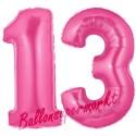 Luftballons aus Folie Zahl 13, Pink, 100 cm mit Helium zum 13. Geburtstag