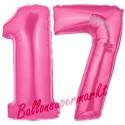 Luftballons aus Folie Zahl 17, Pink, 100 cm mit Helium zum 17. Geburtstag