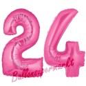 Luftballons aus Folie Zahl 24, Pink, 100 cm mit Helium zum 24. Geburtstag