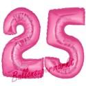 Luftballons aus Folie Zahl 25, Pink, 100 cm mit Helium zum 25. Geburtstag