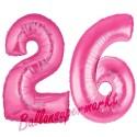 Luftballons aus Folie Zahl 26, Pink, 100 cm mit Helium zum 26. Geburtstag