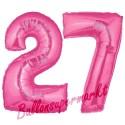 Luftballons aus Folie Zahl 27, Pink, 100 cm mit Helium zum 27. Geburtstag