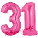 Luftballons aus Folie Zahl 31, Pink, 100 cm mit Helium zum 31. Geburtstag