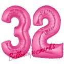 Luftballons aus Folie Zahl 32, Pink, 100 cm mit Helium zum 32. Geburtstag