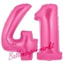 Luftballons aus Folie Zahl 41, Pink, 100 cm mit Helium zum 41. Geburtstag