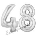 Luftballons aus Folie Zahl 48, Silber, 100 cm mit Helium zum 48. Geburtstag