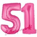 Luftballons aus Folie Zahl 51,Pink, 100 cm mit Helium zum 51. Geburtstag
