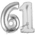 Luftballons aus Folie Zahl 61, Silber, 100 cm mit Helium zum 61. Geburtstag