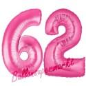 Luftballons aus Folie Zahl 62, Pink, 100 cm mit Helium zum 62. Geburtstag