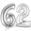 Luftballons aus Folie Zahl 62, Silber, 100 cm mit Helium zum 62. Geburtstag