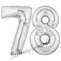 Luftballons aus Folie Zahl 78, Silber, 100 cm mit Helium zum 78. Geburtstag