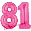 Luftballons aus Folie Zahl 81, Pink, 100 cm mit Helium zum 81. Geburtstag