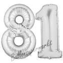 Luftballons aus Folie Zahl 81, Silber, 100 cm mit Helium zum 81. Geburtstag