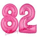 Luftballons aus Folie Zahl 82, Pink, 100 cm mit Helium zum 82. Geburtstag