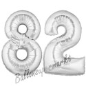 Luftballons aus Folie Zahl 82, Silber, 100 cm mit Helium zum 82. Geburtstag