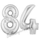 Luftballons aus Folie Zahl 84, Silber, 100 cm mit Helium zum 84. Geburtstag