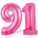 Luftballons aus Folie Zahl 91, Pink, 100 cm mit Helium zum 91. Geburtstag