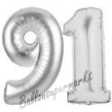 Luftballons aus Folie Zahl 91, Silber, 100 cm mit Helium zum 91. Geburtstag