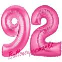 Luftballons aus Folie Zahl 92, Pink, 100 cm mit Helium zum 92. Geburtstag