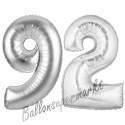 Luftballons aus Folie Zahl 92, Silber, 100 cm mit Helium zum 92. Geburtstag