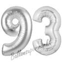Luftballons aus Folie Zahl 93, Silber, 100 cm mit Helium zum 93. Geburtstag