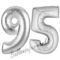 Luftballons aus Folie Zahl 95, Silber, 100 cm mit Helium zum 95. Geburtstag
