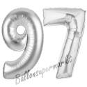 Luftballons aus Folie Zahl 97, Silber, 100 cm mit Helium zum 97. Geburtstag