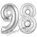 Luftballons aus Folie Zahl 98, Silber, 100 cm mit Helium zum 98. Geburtstag