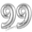 Luftballons aus Folie Zahl 99, Silber, 100 cm mit Helium zum 99. Geburtstag