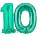 Luftballons aus Folie Zahl 10, Aquamarin, 100 cm mit Helium zum 10. Geburtstag