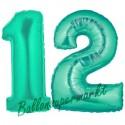 Luftballons aus Folie Zahl 12, Aquamarin, 100 cm mit Helium zum 12. Geburtstag