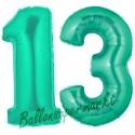 Luftballons aus Folie Zahl 13, Aquamarin, 100 cm mit Helium zum 13. Geburtstag