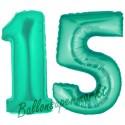 Luftballons aus Folie Zahl 15, Aquamarin, 100 cm mit Helium zum 15. Geburtstag