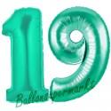 Luftballons aus Folie Zahl 19, Aquamarin, 100 cm mit Helium zum 19. Geburtstag