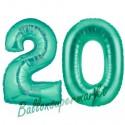 Luftballons aus Folie Zahl 20, Aquamarin, 100 cm mit Helium zum 20. Geburtstag