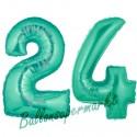 Luftballons aus Folie Zahl 24, Aquamarin, 100 cm mit Helium zum 24. Geburtstag